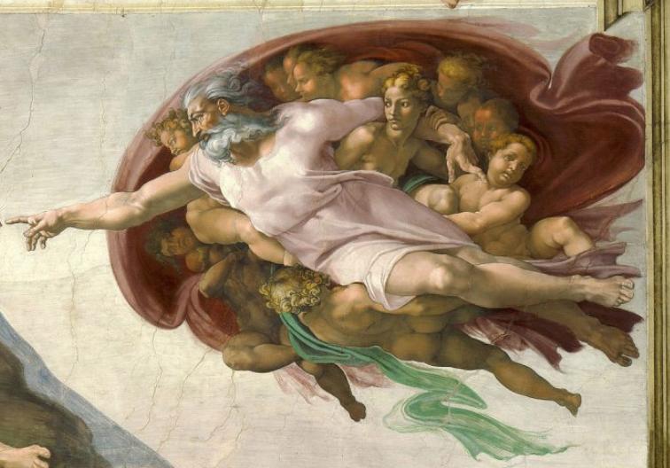 神と天使たちの部分の拡大