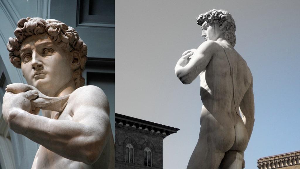 『ダヴィデ』の左手の石と背中の紐