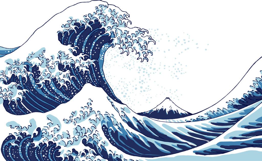 神奈川沖浪裏のイラスト