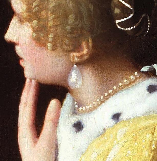 『婦人と召使』に描かれた真珠の耳飾りとネックレス