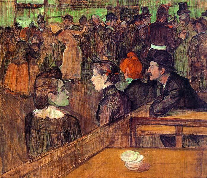 ロートレック『ムーラン・ド・ラ・ギャレットにて』(1889)シカゴ美術館蔵